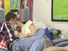 After a good workout session Tyler Hollis decides to relax and indulge in sucking a bit of a sweet lollipop straight man first time gay