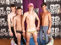 Three funny guys invite their fellow to bath in their urine gay wanking twinks at Boys Pee Pee
