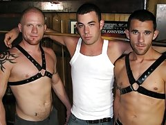 Two manly, hairy gay studs in leather join forces and focus their attention on a sexy and attractive boy who's all by his lonesome lucky guy grou