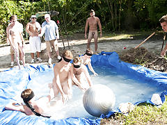 I mean its not embarrassing enough playing naked in a nasty fake pool group sex lucky guy