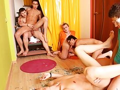 Your fellows will assemble the puzzle with their own bodes gay anal groups at Crazy Party Boys