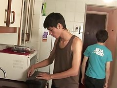 Twinks fucking at a kitchen very well young gay twinks masturbating at Julian 18