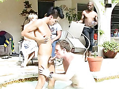 Ajay Cavalli, Cody Taylor, Felix Andrews, Mash, Ricardo and Rick Valentine were hanging by the pool, enjoying a day peripheral exhausted of grade and