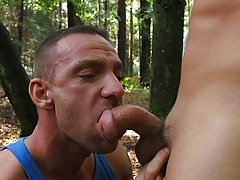 No time seeing that hellos as these two horny guys get straight into it hot men sex outdoors