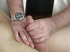 I had incline from the exam stay and I told him to spread his legs as I inserted my lubed finger into his restrictive jock orifice masturbating with v