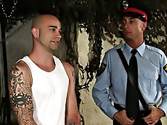 The baton quickly points the other way however, and soon the police officer is the one getting stuck with Sam's huge nightstick gay rubber clothi