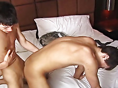 Blair Mason and Jesse Jacobs start off the night via rolling around in bed and kissing each other passionately...which of course leads to a  dick suck