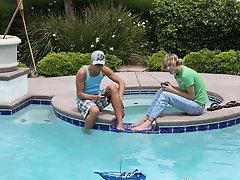 Splendorous twinks Camden Christianson and Kaiden Ertelle are playing with their toy boats in the pool, when passion strikes and they jump on each oth