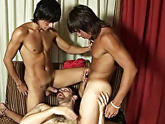 The three end up caught in a line, plugged into each other, and then both handsome twinks discharge on the confronting of their teacher gay group sex