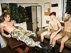 Becoming their bitch; Martin must do whatever the older recruits tell him, even if it's to have hard and raw sex with another soldier, as they wa