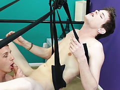 They each get a turn getting blown on the swing and devouring each other's cocks with their mouths twink gay blowjob at Boy Crush!