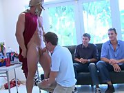 Group gay porn fucking and army gay group sex at Sausage Party