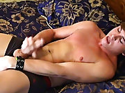 Even with the distracting cameras, charming Ashton manages to cum on his stomach guys first dick - at Boy Feast!