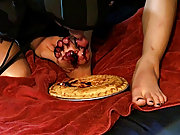 Angel sticks his tiny foot into a blueberry pie and Tristan licks it off shaved amateur gay - at Boy Feast!