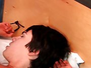 Twink with electric and gay male group blowjob...