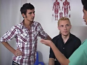 Group male physical exam and gay group masturbation...