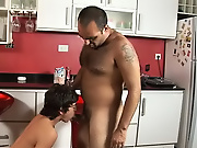 Having recharged from their love games and feeling grateful, the tattooed stud enters the kitchenette and starts kissing his younger partner gay matu