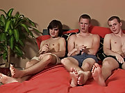 Rocco and Brett immediately went down on Cj's dick again, alternately sucking the head of the cock while the other one licked and fondled the hea