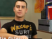 Issue ones brunette twink Justin Giles sits at a desk in a classroom and the man behind the camera asks him questions about his experience in porn, hi